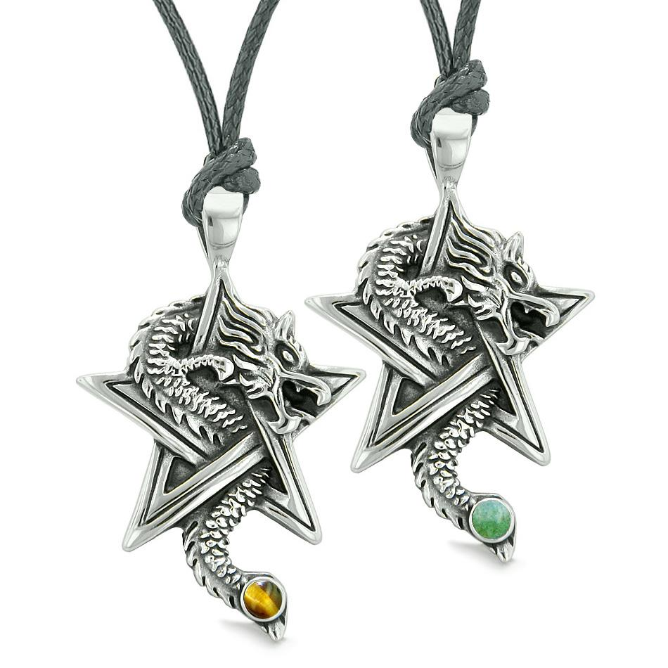 Courage Dragons Star Pentacle Amulet Love Couples Best Friends Set Green Quartz Tiger Eye Necklaces
