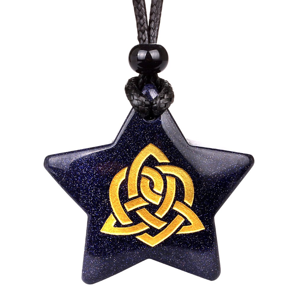 Magical Super Star Celtic Shield Knot Powers Amulet Goldstone Lucky Charm Pendant Necklace