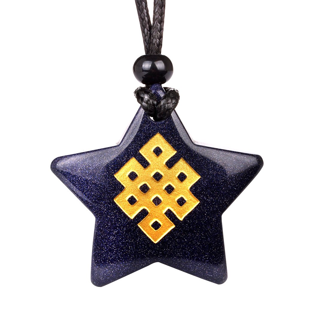 Magical Super Star Tibetan Celtic Shield Knot Amulet Goldstone Lucky Charm Pendant Necklace