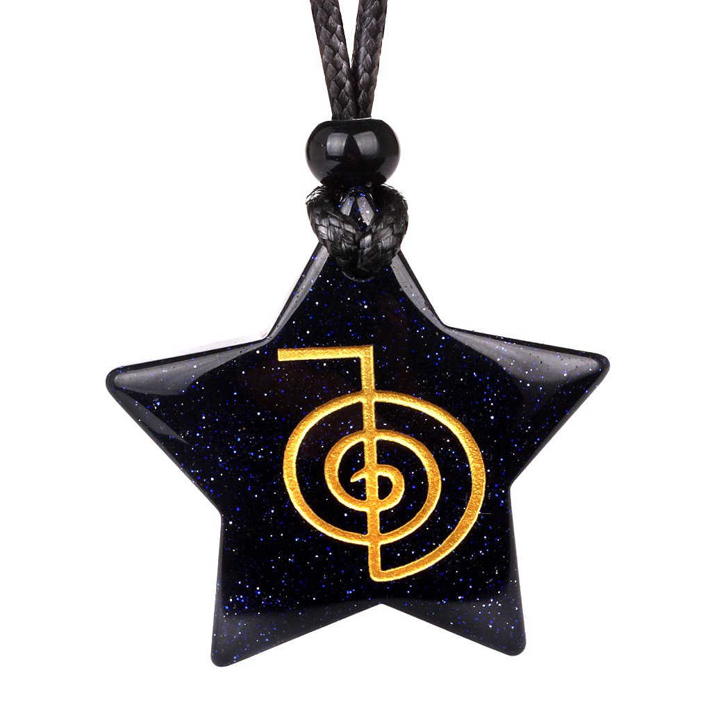 Magical Super Star Choku Rei Reiki Powers Amulet Blue Goldstone Lucky Charm Pendant Necklace