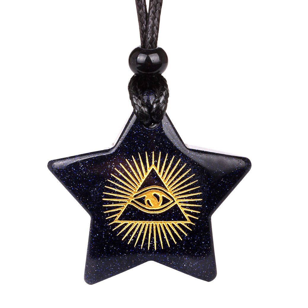 Magical Super Star Mystic Eye Pyramid Sun Powers Amulet Goldstone Lucky Charm Pendant Necklace