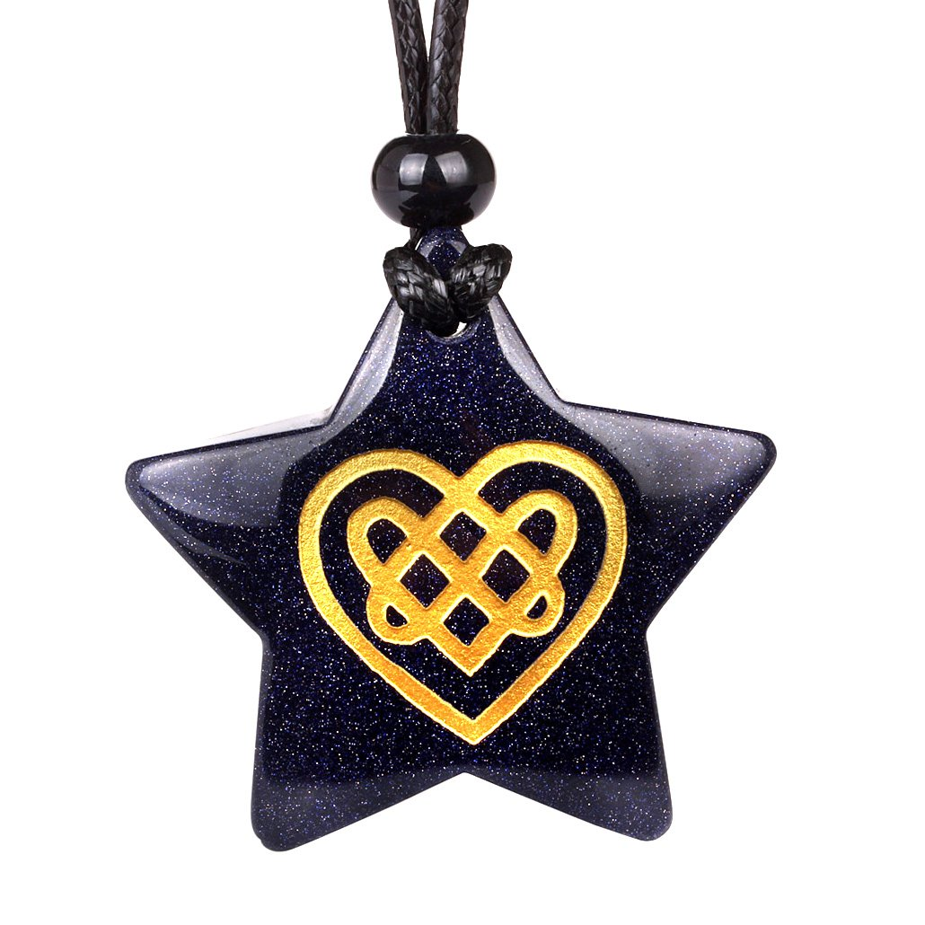 Magical Super Star Celtic Shiled Knot Heart Love Amulet Goldstone Lucky Charm Pendant Necklace