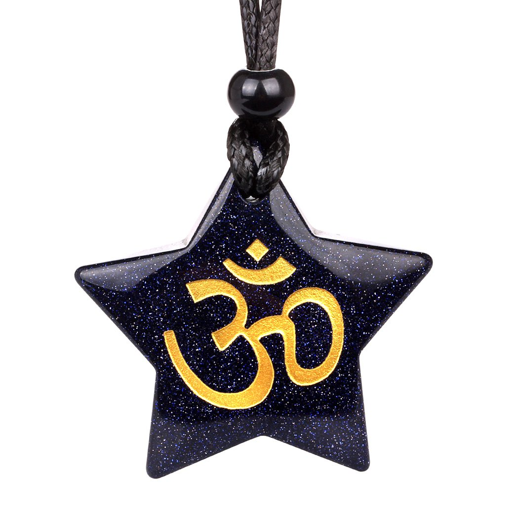 Magical Super Star Ancient OM Ohm Tibetan Powers Amulet Goldstone Lucky Charm Pendant Necklace