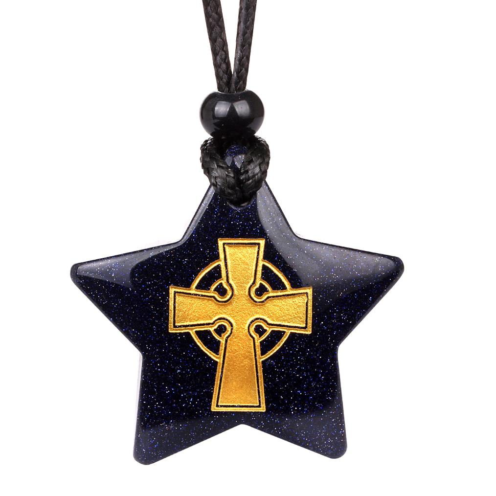 Magical Super Star Ancient Viking Celtic Cross Amulet Goldstone Lucky Charm Pendant Necklace