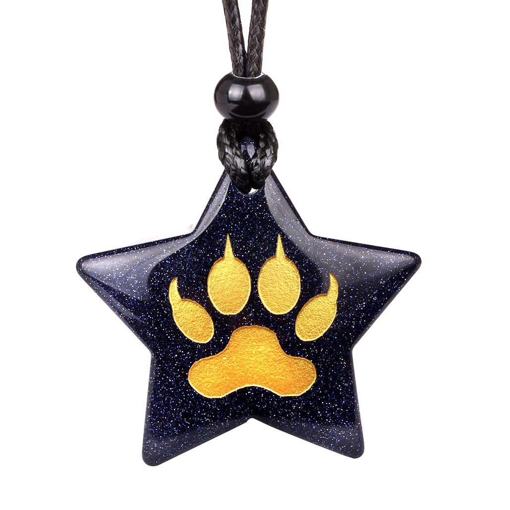 Magical Super Star Brave Wolf Paw Courage Powers Amulet Goldstone Lucky Charm Pendant Necklace