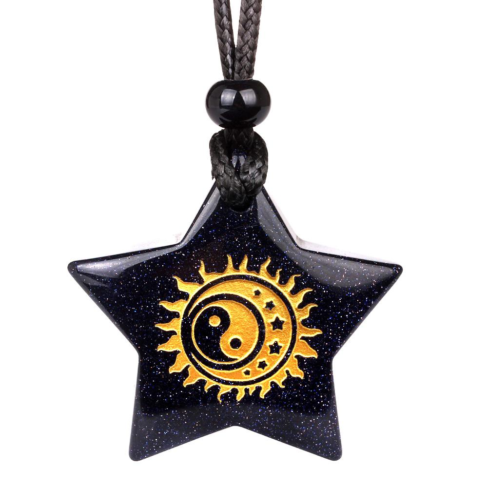 Magical Super Star Yin Yang Sun Moon Positive Powers Amulet Goldstone Lucky Pendant Necklace