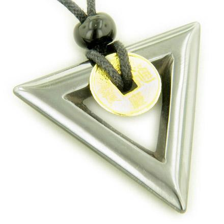 Lucky Coin Necklace Triangle Donut in Hematite Gemstone