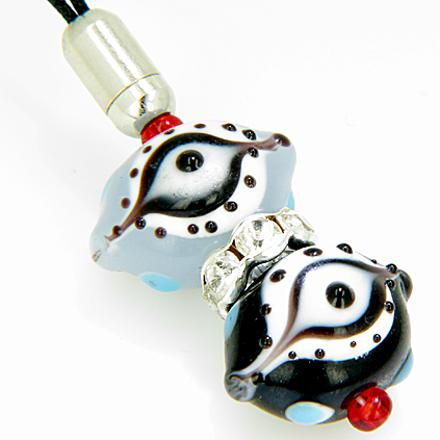 Evil Eye Swarovski Elements Cell Phone Charm in Sky Blue and Black Eyes