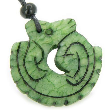Good Luck And Protection Talisman Dragon Green Jade Necklace