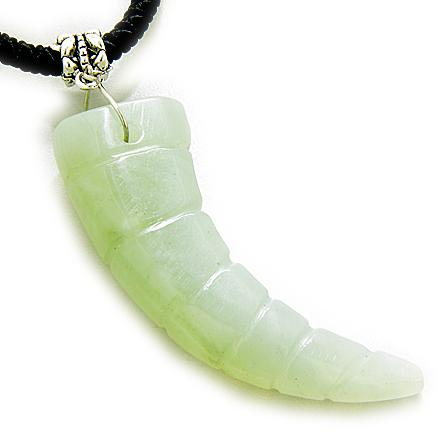 Good Luck and Protection Talimsan Lucky Horn Green Jade Necklace