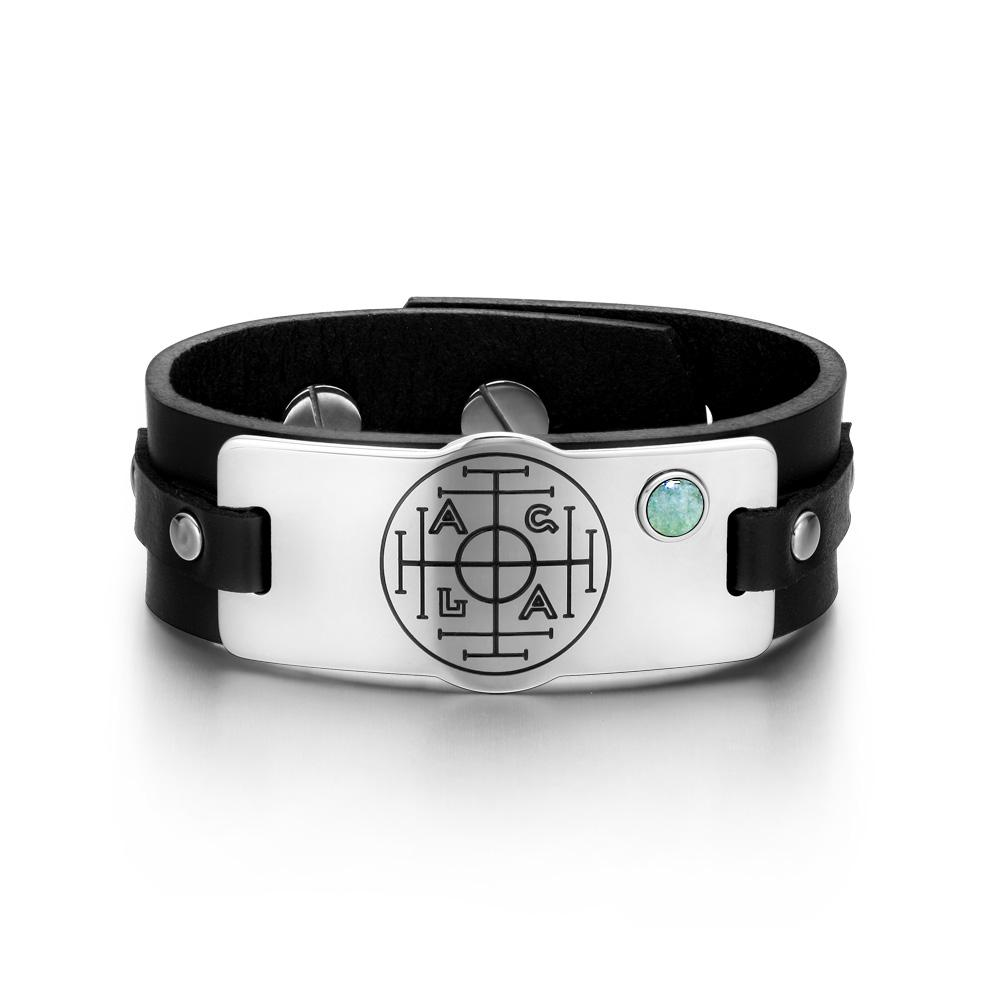 Fortune Wealth Success Magic Circle Amulet Green Quartz Gemstone Black Leather Bracelet