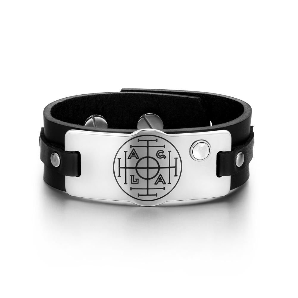 Fortune Wealth Success Magic Circle Amulet White Simulated Cats Eye Black Leather Bracelet