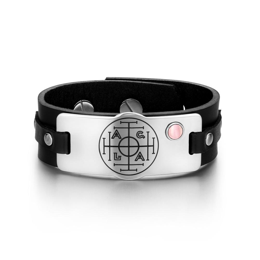 Fortune Wealth Success Magic Circle Amulet Pink Simulated Cats Eye Black Leather Bracelet