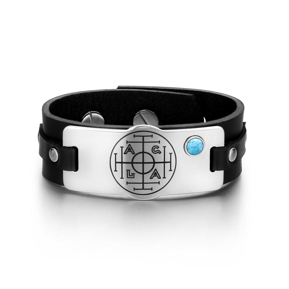 Fortune Wealth Success Magic Circle Amulet Simulated Turquoise Black Leather Bracelet