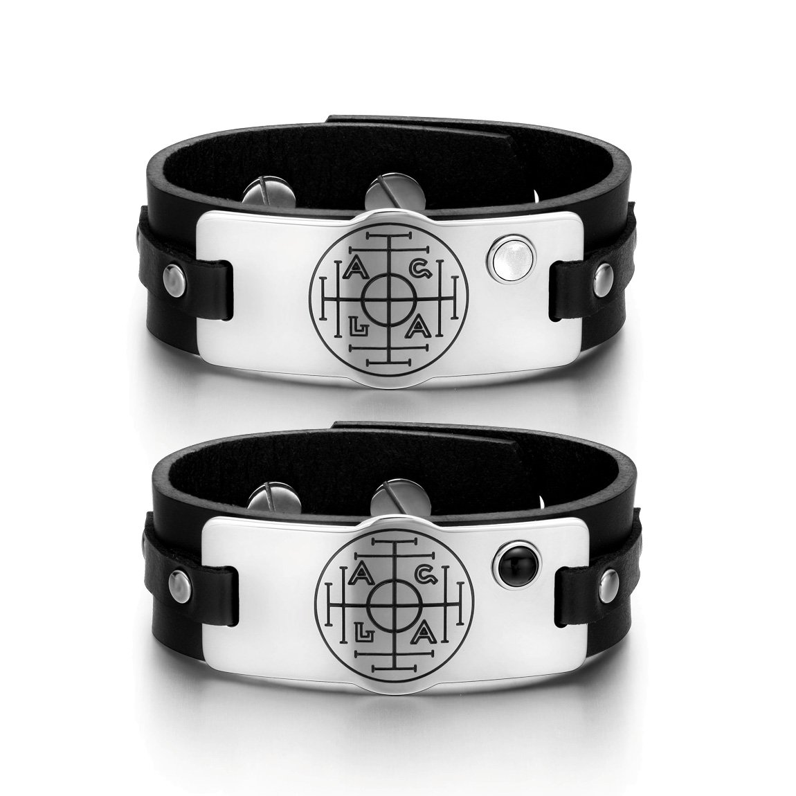 Fortune Wealth Success Love Couples White Simulated Cats Eye Simulated Onyx Black Leather Bracelets