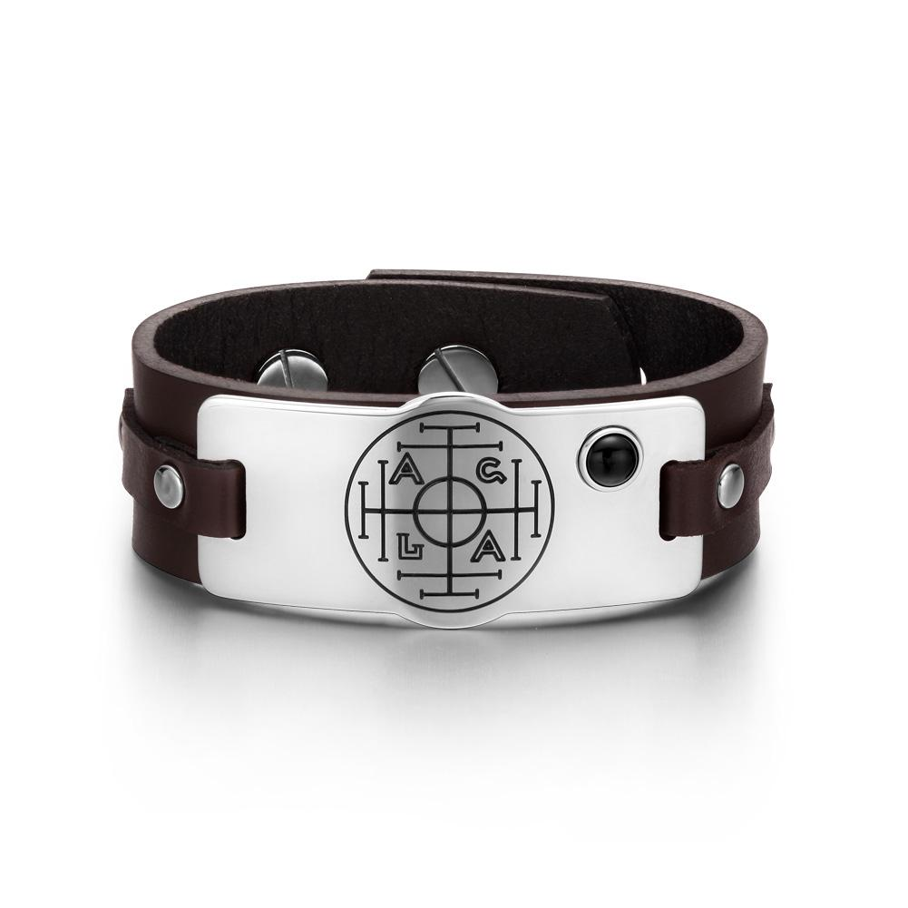Fortune Wealth Success Magic Circle Amulet Simulated Black Onyx Brown Leather Bracelet