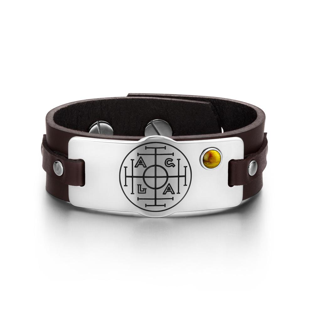 Fortune Wealth and Success Magic Circle Amulet Tiger Eye Gemstone Adjustable Brown Leather Bracelet