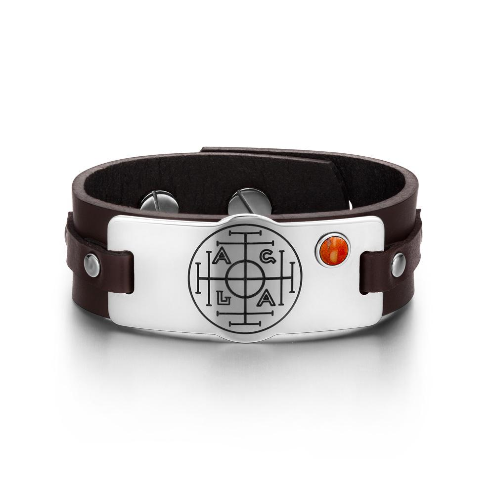 Fortune Wealth Success Magic Circle Amulet Red Jasper Gemstone Brown Leather Bracelet