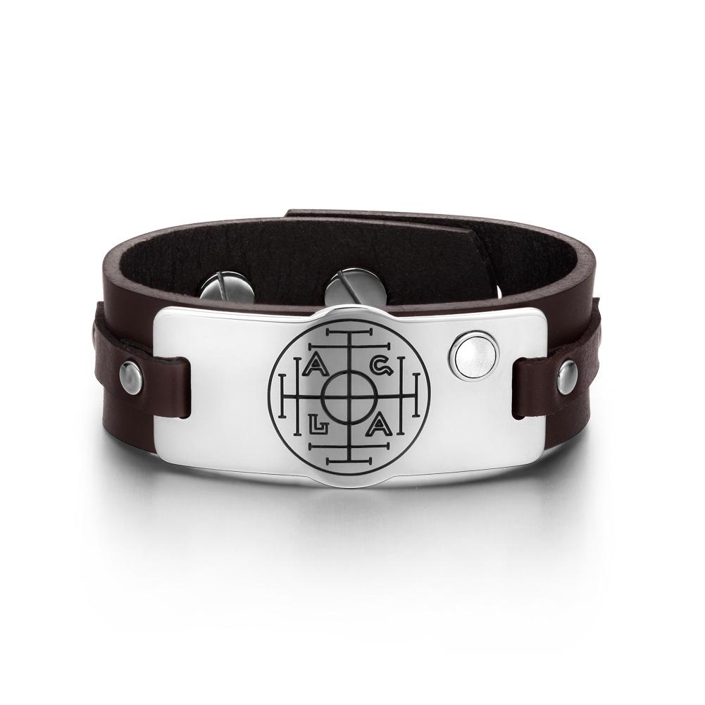 Fortune Wealth Success Magic Circle Amulet White Simulated Cats Eye Brown Leather Bracelet