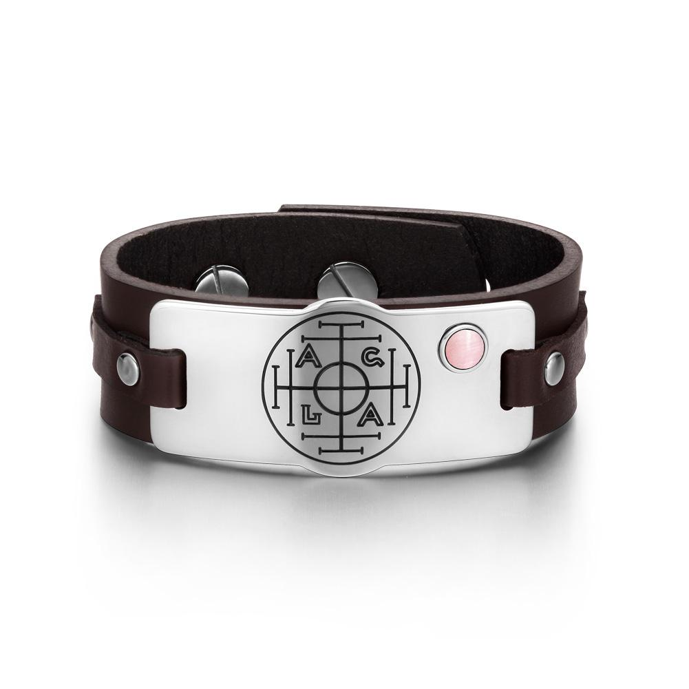 Fortune Wealth Success Magic Circle Amulet Pink Simulated Cats Eye Brown Leather Bracelet