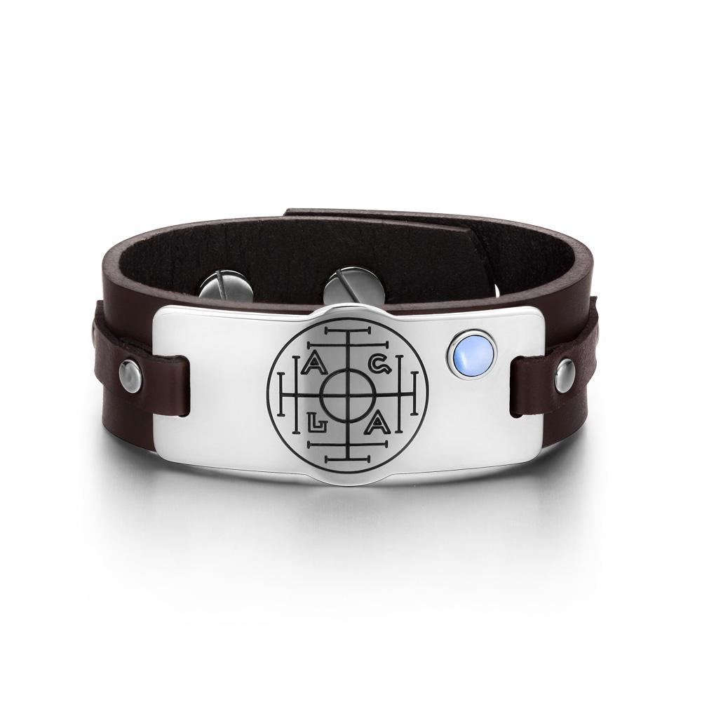Fortune Wealth Success Magic Circle Amulet Blue Simulated Cats Eye Brown Leather Bracelet