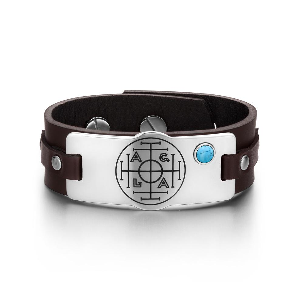Fortune Wealth Success Magic Circle Amulet Simulated Turquoise Dark Brown Leather Bracelet
