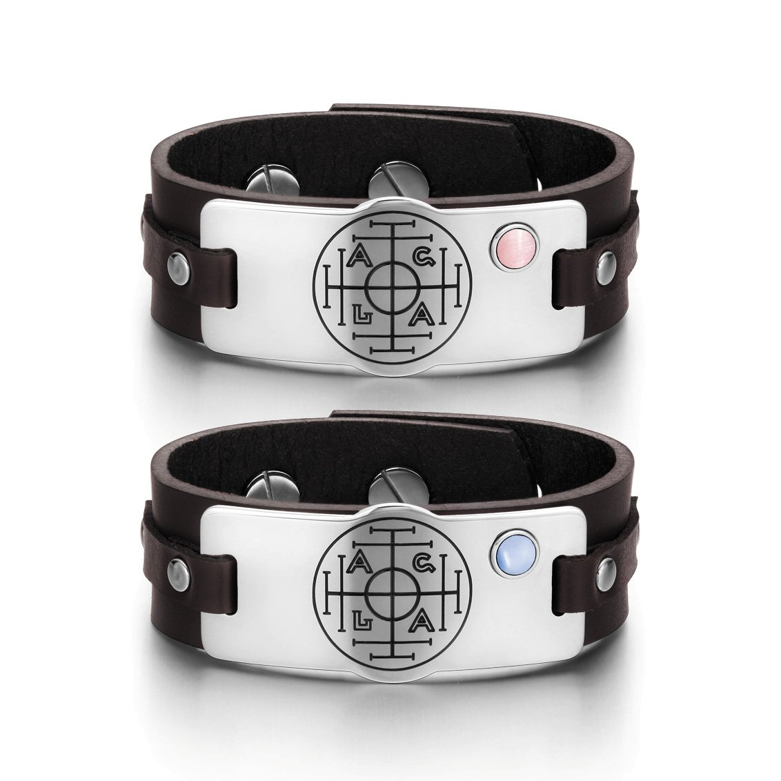 Fortune Wealth Success Love Couples Pink Sky Blue Simulated Cats Eye Amulet Brown Leather Bracelets