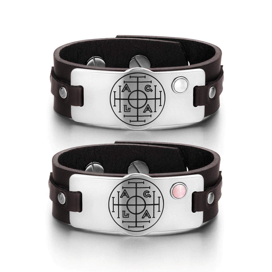 Fortune Wealth Success Love Couples White Pink Simulated Cats Eye Amulet Brown Leather Bracelets