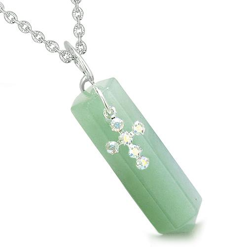 Amulet Crystal Point Holy Cross Swarovski Elements Green Aventurine Spiritual Pendant Necklace
