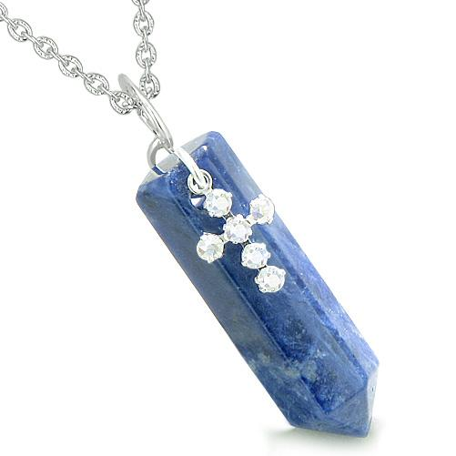 Amulet Crystal Point Holy Cross Swarovski Elements Charm Sodalite Spiritual Pendant Necklace