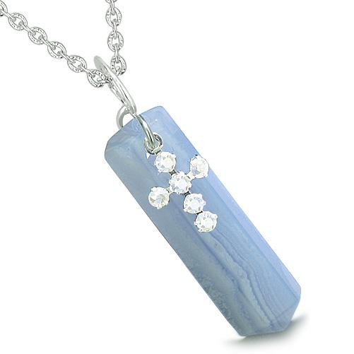 Amulet Crystal Point Holy Cross Swarovski Elements Blue Lace Agate Spiritual Pendant Necklace