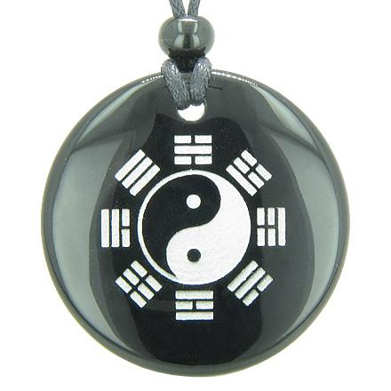 Yin Yang Eight Trigrams Amulet Magic Circle Gemstone Pendant Necklace