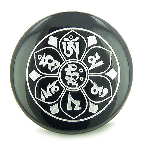 Tibetan Om Mani Padme Hum Mantra Amulet Onyx Magic Circle Spiritual Power Keepsake Individual Totem