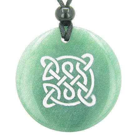 Life Protection Celtic Shield Knot Amulet Green Aventurine Magic Good Luck Pendant Necklace