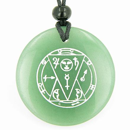 Sun Talisman from the Sage of the Pyramids Green Aventurine Magic Circle Good Luck Pendant Necklace