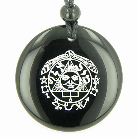Success in Work Wealth Talisman of Sun Black Onyx Magic Gemstone Circle Spiritual Pendant Necklace