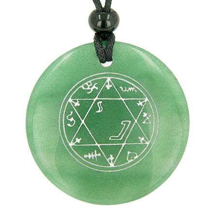 Magic Hexagram Amulet Green Aventurine Gemstone Circle Good Luck Powers Pendant Necklace