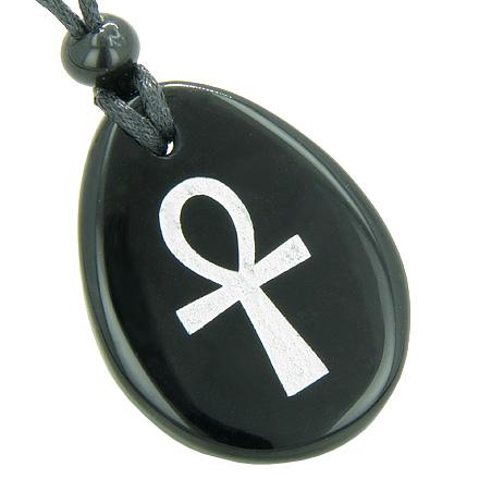 Ankh Egyptian Power of Life Good Luck Amulet Black Onyx Wish Totem Gem Stone Necklace Pendant