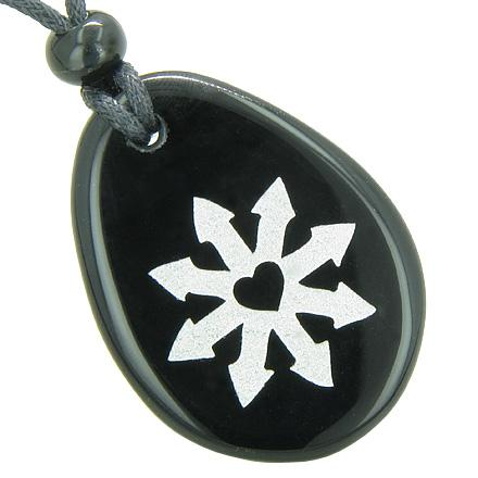 Tibetan Buddha Wheel of Fortune Spiritual Amulet Black Onyx Wish Totem Gem Stone Necklace Pendant