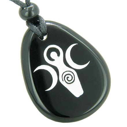 Triple Goddess Celtic Lady Blessing Spiritual Amulet Black Onyx Totem Gem Stone Necklace Pendant