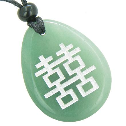 Lucky Double Happiness Magic Good Luck Amulet Green Aventurine Totem Gem Stone Necklace Pendant