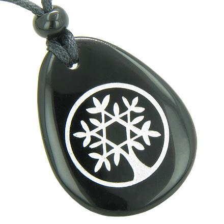 Tree of Life Circle King of Solomon Star Spiritual Amulet Black Onyx Totem Gem Stone Necklace