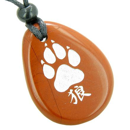Lucky Wolf Paw Kanji Believe Amulet Red Jasper Wish Totem Gem Stone Necklace Pendant