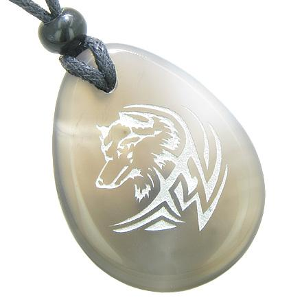 Courage Protection Lucky Wolf Good Luck Amulet Natural Agate Totem Gem Stone Necklace Pendant