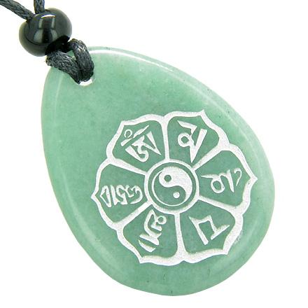 Tibetan Mantra Ying Yang Good Luck Amulet Green Aventurine Wish Totem Gem Stone Necklace Pendant