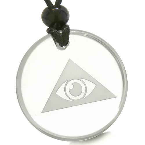 Amulet Mystical All Seeing Eye of God Triple Powers Pyramid Quartz Medallion Necklace