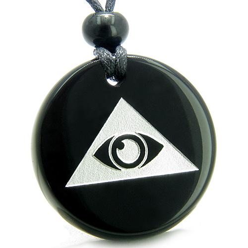 Amulet Mystical All Seeing Eye of God Triple Powers Pyramid Onyx Medallion Necklace