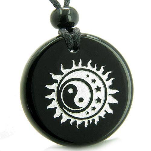 Amulet Sun Moon Stars Triple Magic Balance Yin Yang Positive Powers Onyx Medallion Necklace