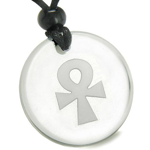 Amulet Ankh Egyptian Power of Life Spirit Protection Powers Quartz Medallion Pendant Necklace