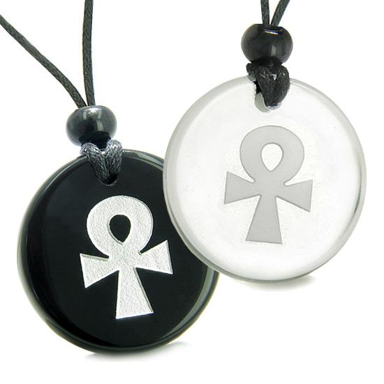 Amulets Love Couple Best Friends Ankh Egyptian Power of Life Spirit Quartz Onyx Pendant Necklaces